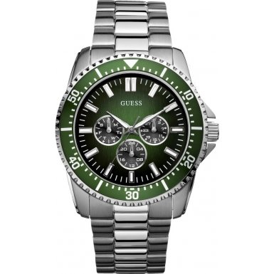Guess Focus Men's Quartz Watch with Green Dial Analogue Display and Silver Stainless Steel Strap W10245G3