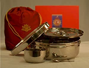 Indian Spice Box, Masala Dabba Stainless Steel Organizer To Store Spices by Ajika (a gourmet international food gift)