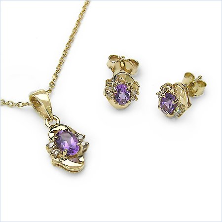 Jewelry-Schmidt-Diamond / amethyst-SET-4-telig pendants, chain, earrings 1.12 carats