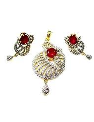 Poddar Jewels Cubic Zirconia Red Stone Pendant Set