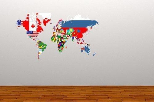 A Pieni Colori Mappa Del Mondo Bandiere Adesivo Da Parete Decalcomania Grafica Decorazione Casa Ufficio Viaggio Studiare Soggiorno
