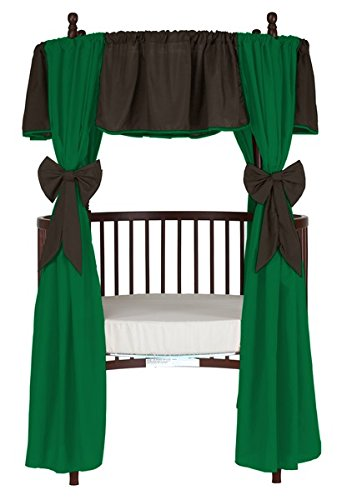 Baby Doll Reversible Round Crib Curtains, Brown/Green