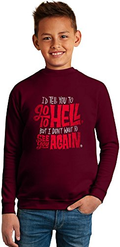mad men Go To Hell Superb Quality Boys Sweater by TRUE FANS APPAREL - 50% Cotton & 50% Polyester- Set-In Sleeves- Open End Yarn- Unisex for Boys and Girls 13-14 years