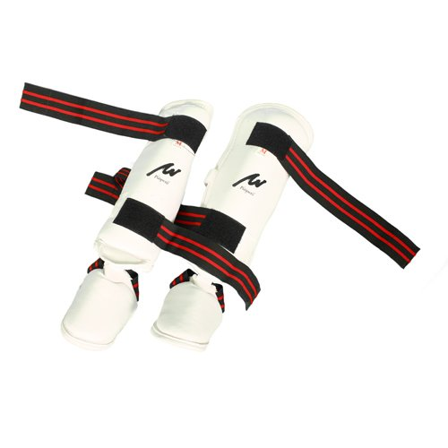 Martial Arts White Elite Vinyl 3 IN 1 Shin & Instep Foot Pads - Large