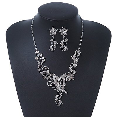 Clear Swarovski Crystal 'Butterfly' Necklace & Drop Earring Set In Rhodium Plating - 40cm Length/ 6cm Extension