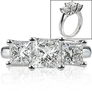 Three-Stone Princess Cut Diamond Ring (3.00 ctw) Platinum
