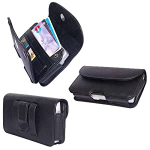 PCMICROSTORE Brand Apple iPhone PDA Premium Black Leather Wallet Carrying Case with Belt Loop and Clip - Include Accessory Compartment - Style H11