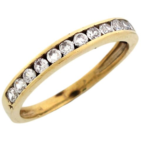 9ct Yellow Gold Round Cut Channel Set CZ Mens Band