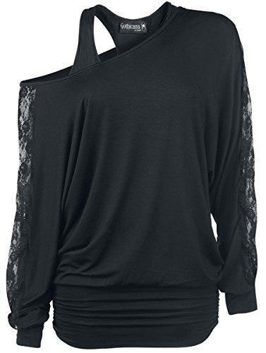 Gothicana by EMP Bat Shirt Manica lunga donna nero XXL