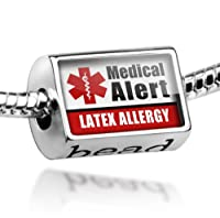 "Neonblond Beads Medical Alert Red ""Latex Allergy"" - Fits Pandora Charm Bracelet by NEONBLOND Jewelry & Accessories"