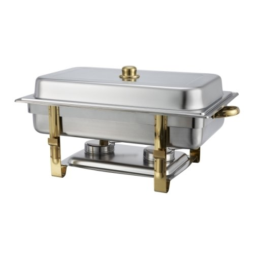 Malibu Chafer 201 – 8 qt Oblong Stainless Steel W/ Gold Accents