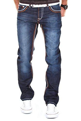 MERISH Herren Jeanshose Denim Dicke Naht Darkblue Trend Usedlook Jeans Hose Neu J9148 32/32 thumbnail