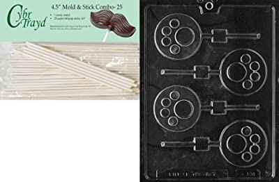 Cybrtrayd 45St25-K106 Paw Print Lolly Kids Chocolate Candy Mold with 25 Cybrtrayd 4.5-Inch Lollipop Sticks