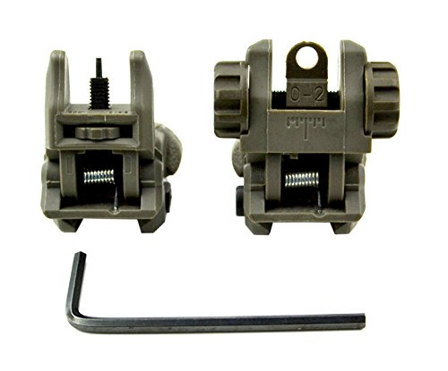 Sniper® Front And Rear Sight Combo Set; Flip Up Backup Iron Sights; Flattop A1 A2 Sights; Green (Ar Quad Rail Carbine Free Float compare prices)