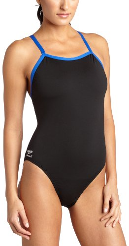 Speedo Women'S Race Endurance+ Polyester Flyback Training Swimsuit, Black And Blue, 32 front-892873