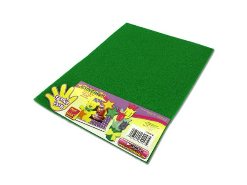 Green Sparkle Adhesive Foam Craft Sheet - Case of 36