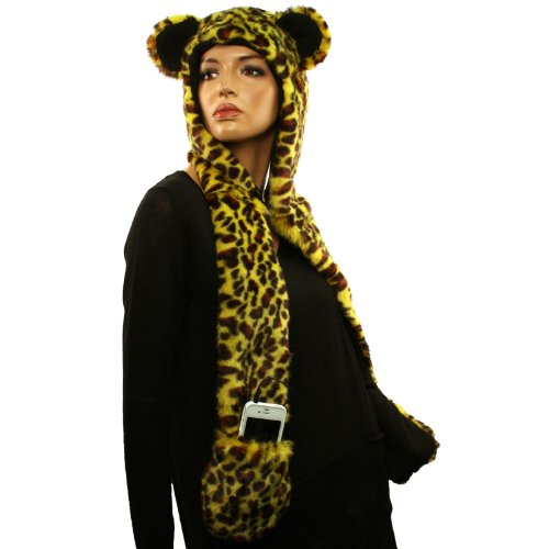 With Headphones Speakers Winter Faux Leopard Fur Trapper Pocket Ski Hat Yellow