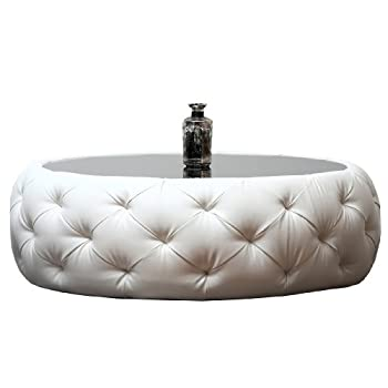 Abbyson Furrinno Round Leather Coffee Table