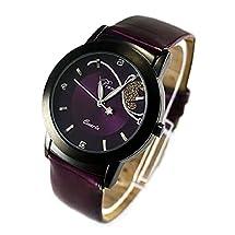 Bessky(TM) New Fashion Girl Women Luxury Diamond Pretty Quartz Wrist Watch (Purple)