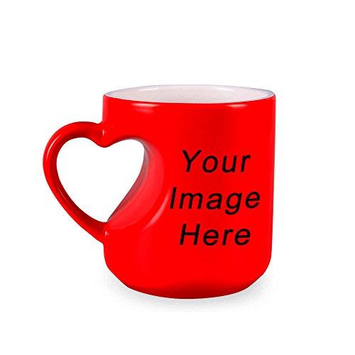 Generic Heart-Shaped Coffee Magic Mug With Custom Images 11Oz Red