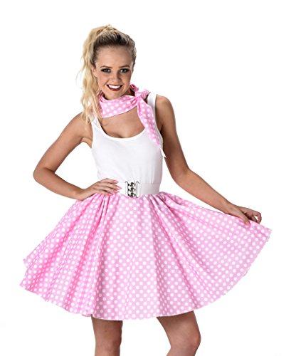 [Women's Pink Polka Dot Skirt & Necktie Halloween Costume (L)] (Cheap Sexy Plus Size Halloween Costumes)