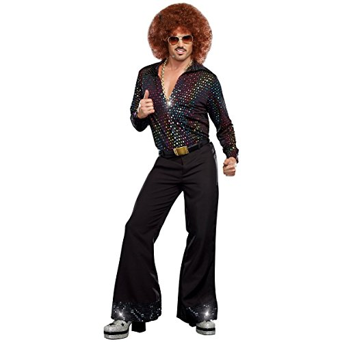 [GSG Disco Costumes Adult Shirt Funny 70s Mens Halloween Fancy Dress] (Cabaret Costumes For Men)