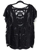 Atdoshop(TM) Floral semi-transparente shirt à manches T-shirt en dentelle au crochet Top Blouse