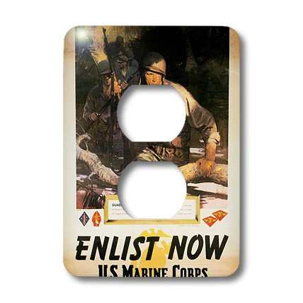 3Drose Llc Lsp_149421_6 Vintage Enlist Now Us Marine Corps Guadal Canal Enlistment Poster 2 Plug Outlet Cover