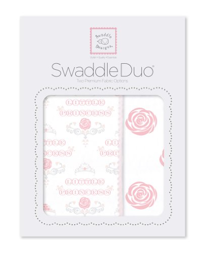 SwaddleDesigns SwaddleDuo, Royal Baby Duo (Set of 2 in Pastel Pink)