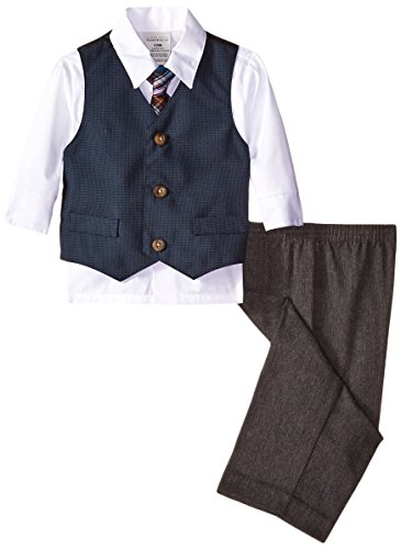 Perry Ellis Baby Boys' Square Dot Vest Set, White, 24 Months