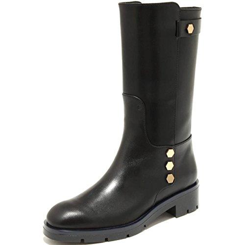 4137G stivale donna nero TOD'S fondo gomma pesante biker bottoni scarpa boots sh [38]
