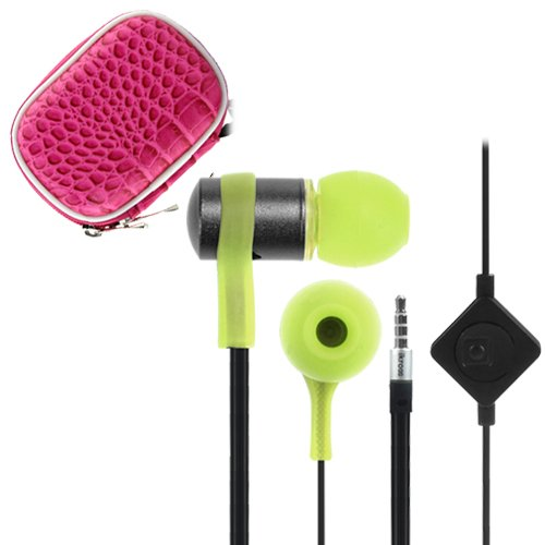 Ikross Green / Black In-Ear 3.5Mm Noise-Isolation Stereo Flat Cable Tangle Free Earbuds With Microphone + Hot Pink Headset Eva Case For Motorola Moto E, Moto G, Moto X, Droid Mini, Droid Maxx, Droid Ultra And More