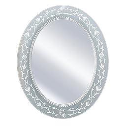 Deco Mirror 23 in. x 29 in. Fushcia Frameless Oval Mirror