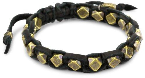 M.Cohen Handmade Designs Cornerless Brass Beads On A Leather Bracelet