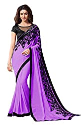 Women's Exclusive Puple Embroidery Work Georgette Sari with Blouse
