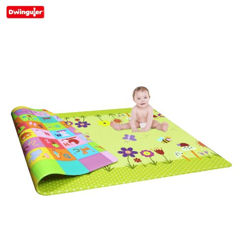 Dwinguler Eco-friendly Kids Play Mat - Garden Delight, Green (Large)
