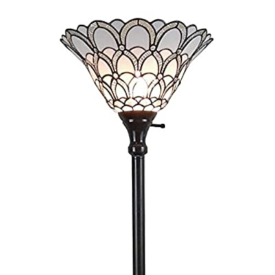 Amora Lighting AM071FL14 Tiffany-style Jewel 72-inch Floor Torchiere Lamp White