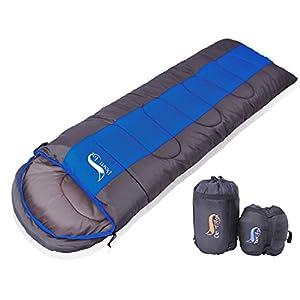 寝袋 封筒型 軽量 アウトドア 登山 車中泊 丸洗い 最低使用温度0度 収納袋付き (ブルー 1.4kg)