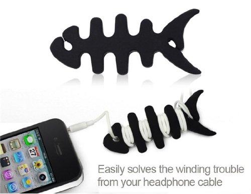 Fishbone Earphone Winder For Iphone Best Seller (Black)