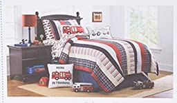 Authentic Kids Cotton Reversible Stripe and Plaid Quilt Red, Blue, White, Classic Patchwork (Twin)