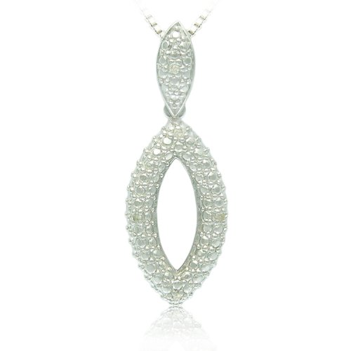 Sterling Silver Diamond Marquise Shape Pendant Necklace, 18