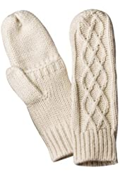 Merona Womens Ivory Cable Knit Mittens with Finger Openings (Off White)