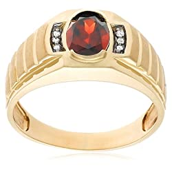 10k Yellow Gold Garnet and Diamond Men