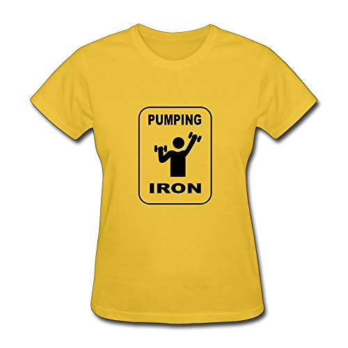 Womens Pumping Iron Fitness O Neck T-Shirt Size Xxl Color Yellow