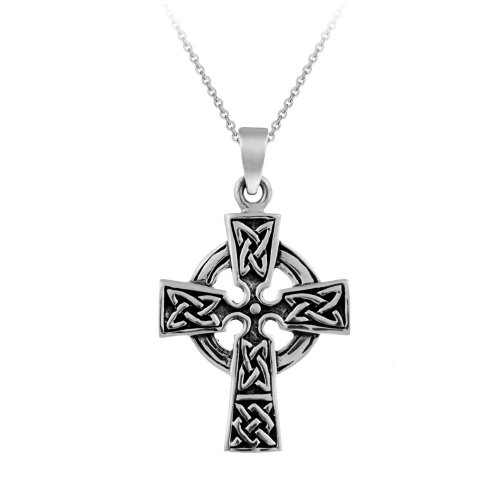 Sterling Silver Celtic Cross Pendant Necklace, 18