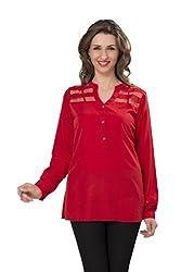 ISHIN Casual Full Sleeves Solid Women's Georgette Red Western Top