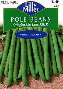 Lilly Miller POLE BEANS Stringless Blue Lake, FM1K #7065 28g Seed Packet