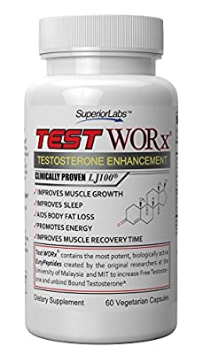 #1 Testosterone Booster Supplement TEST WORx - 6 Week Cycle - Made in the USA- Ingredients proven in HUMAN trials to improve testosterone up to 132%. Satisfaction or your money back GUARANTEED