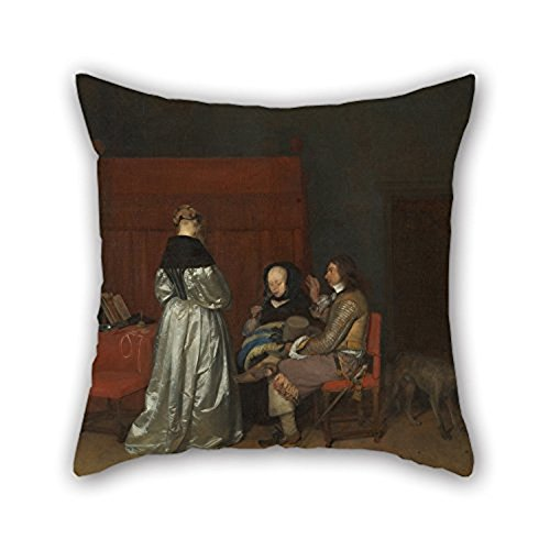 Happy Festival Pillowcase 16 X 16 Inches 40 By 40 Cm(2 Sides) Nice Choice For Wedding Christmas Pub Lounge Teens Boys Girls Gerard Ter Borch Interieur Met Drie Figuren Die Met Elkaa For Home (Dresser Knobs Mets compare prices)