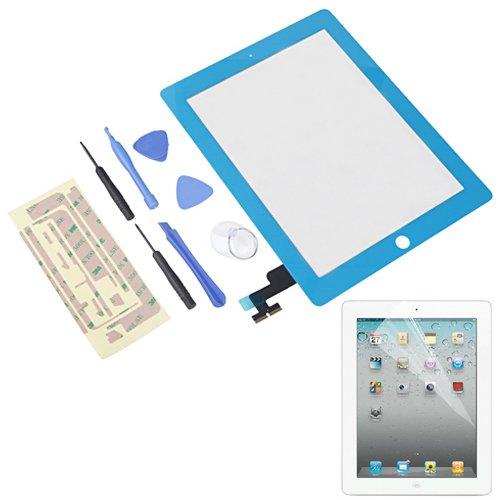 Hde Ipad 2 Digitizer Touch Screen Replacement Parts W/ 7-Piece Tool Kit, Adhesive Tape, And Screen Protector (Blue) front-88106